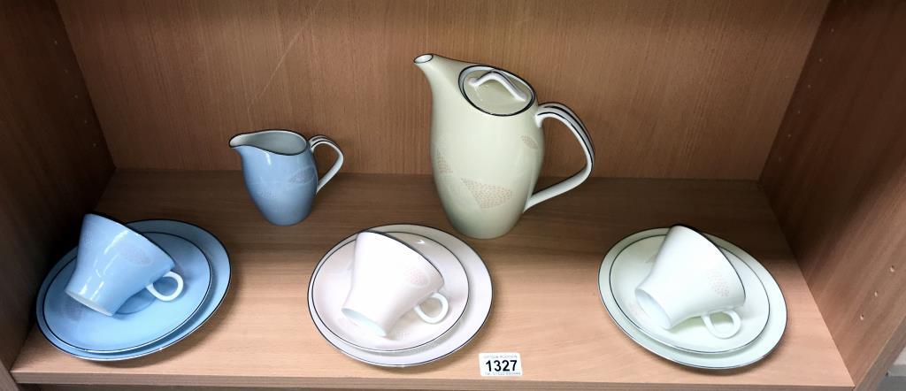 3 Noritake trios & coffee pot & jug