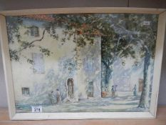 A good framed and glazed mid 20th century watercolour, signed but indistinct. 54 x 38 cm.