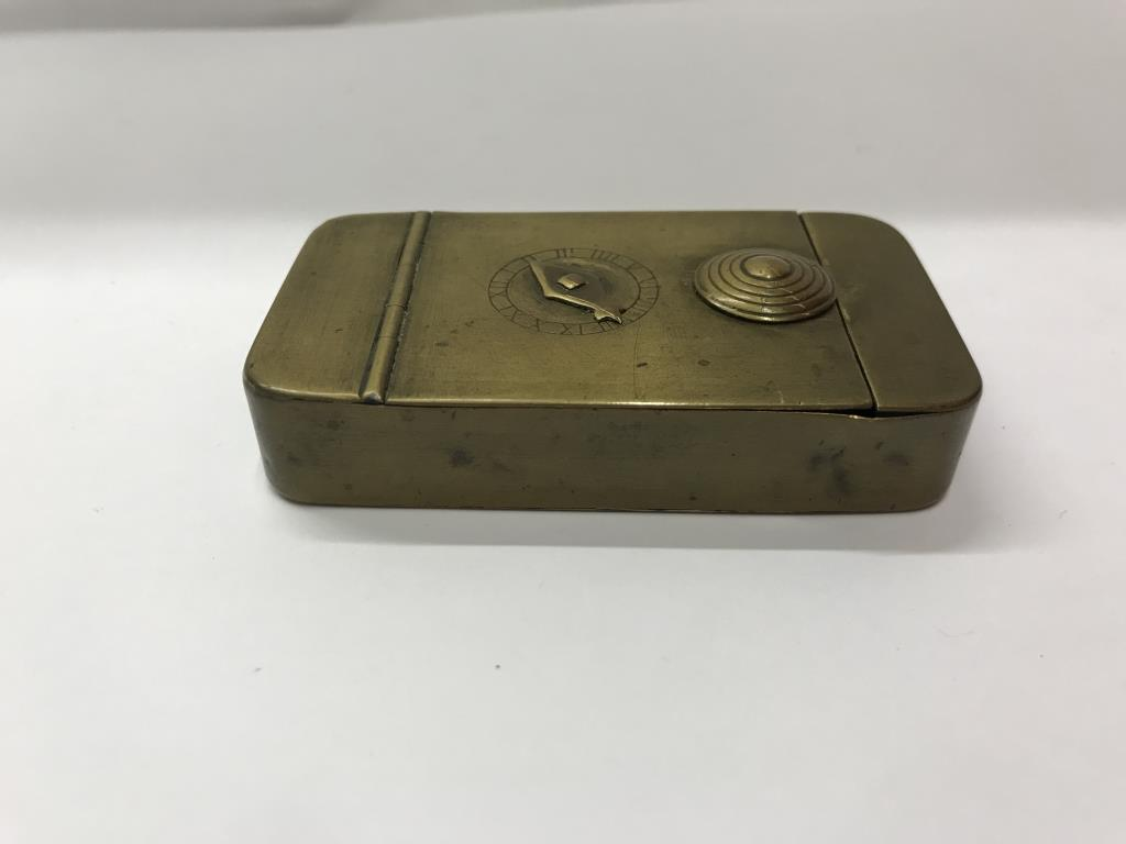 A 19th century brass snuff box with combination lock. - Image 4 of 5