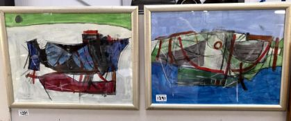 A late 20th century Cornish school acrylic & pencil on paper title 'boat wrecks rusting on West