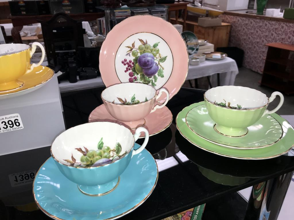 A quantity of Aynsley Trio's & cups & saucers (yellow saucer is Tuscan & green plate) - Image 3 of 3
