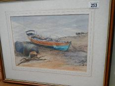 A framed and glazed watercolour of a rowing boat by Cornfirth. 55 x 45.