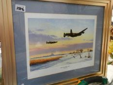 A print entitled 'Lincolnshire Winter 1943' by Keith Arnold.