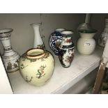 A quantity of vases including ginger jar (missing lid)
