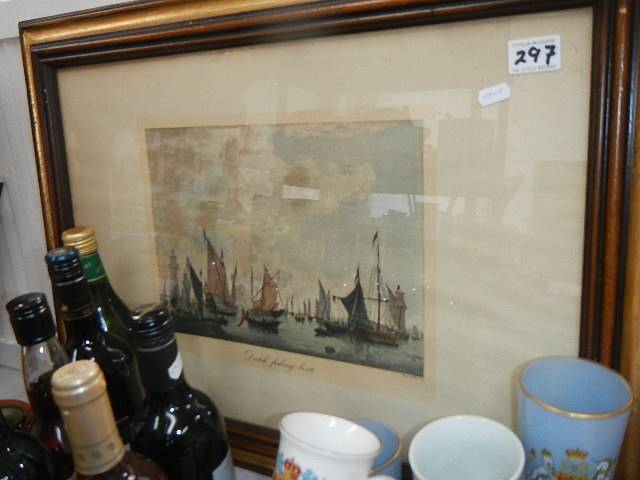 A pair of nautical prints of English and Dutch fishing fleets.