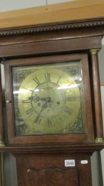 An oak cased 8 day long case clock with brass dial. - Image 2 of 11