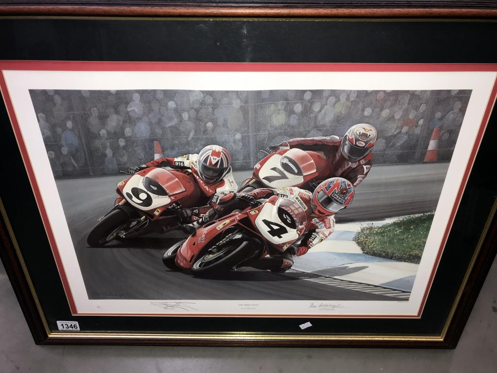5 limited edition framed & glazed motorcycle pictures of Carl Fogarty. Signed C.F & Ray Goldsbrough. - Image 2 of 26