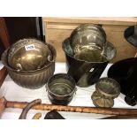 6 vintage brass planters