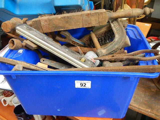 A crate of old tools etc.