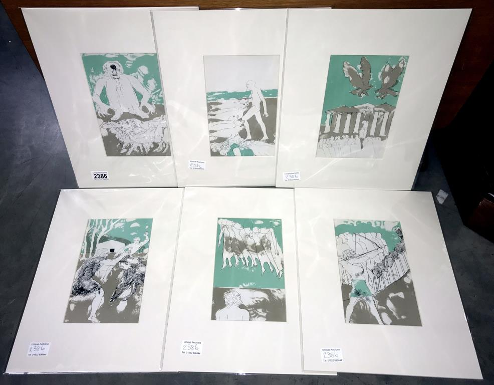 Elisabeth Frink (1930-1993) collection of 6 x lithographic prints on chain laid paper circa 1975.