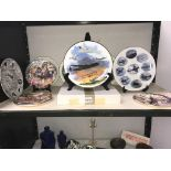 A selection of collectors cabinet plates including aircraft etc.