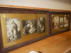 Six religious studies in two frames. 78 x 44 cm.