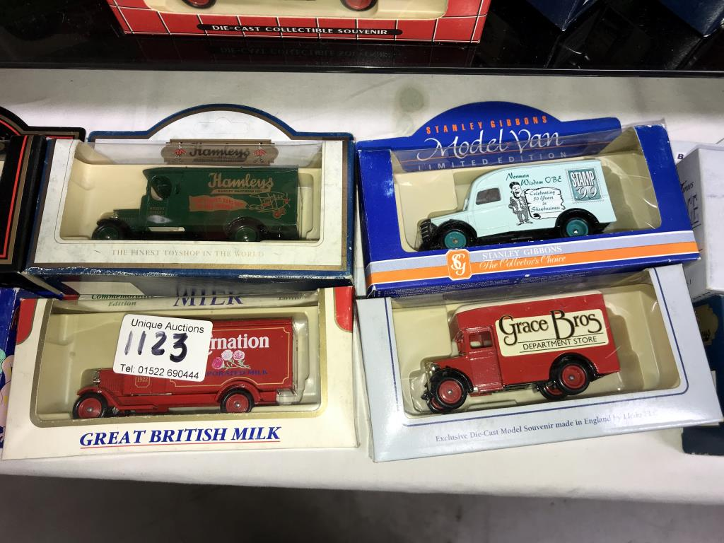 A selection of Lledo Guinness, Hamley's, Pepsi, Stanley Gibbons diecast models, - Image 3 of 6