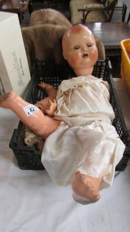 A vintage English doll, a/f.