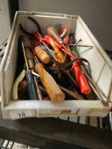 A box of assorted screwdrivers etc.