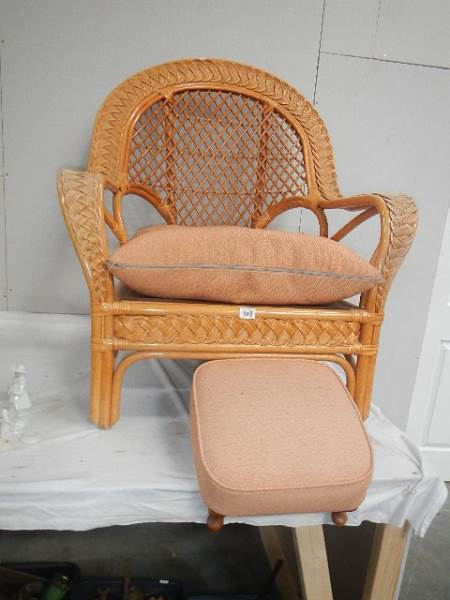 A conservatory chair and stool.