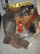 A mixed lot of old tools, car jacks etc.