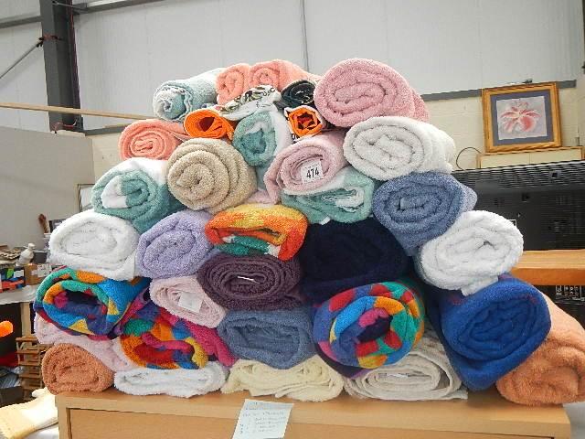 A large quantity of towels.