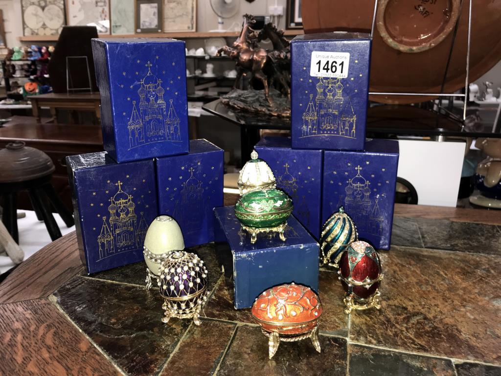 7 boxed Atlas decorative eggs