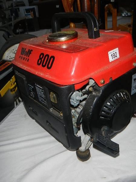 A Wolf 800 generator.