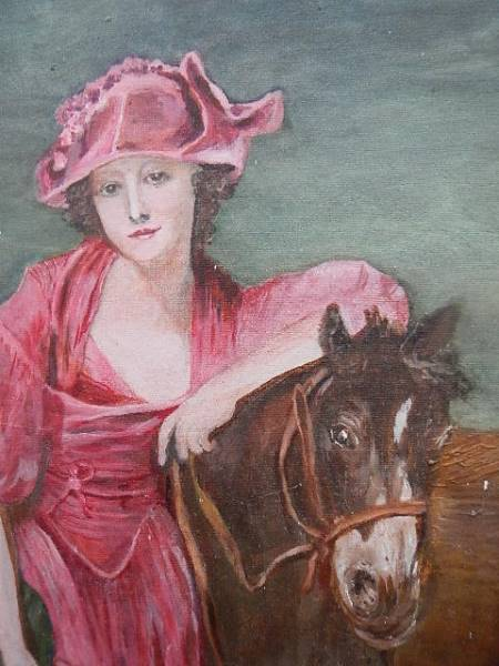 An oil on board study of a lady on a horse. 54 x 64 cm. - Image 2 of 4