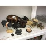 A collection of pig figures including 3 brass,