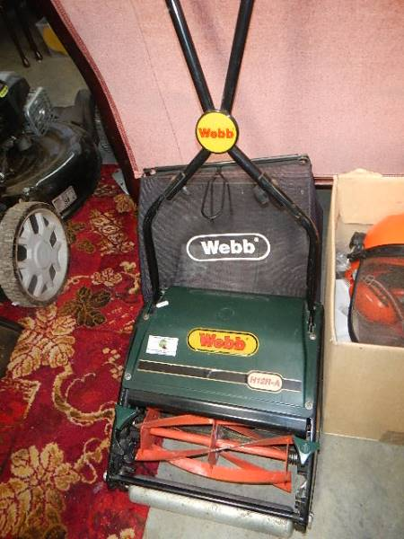 A good Webb manual mower, guard hat and other tools. - Image 4 of 4