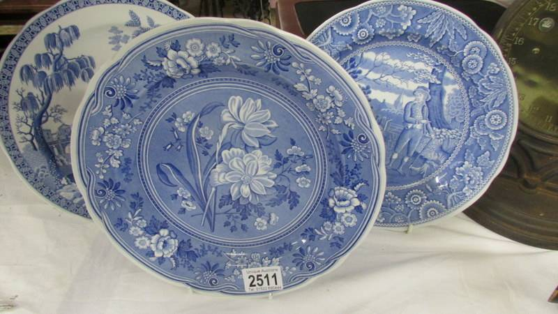 Three Spode blue and white plates.