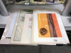 2 Emma Miller collagraph mono prints and various other prints