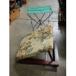 An Adjustable gout stool and a garden seat.