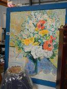 A blue framed still life oil on canvas.