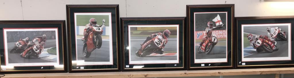 5 limited edition framed & glazed motorcycle pictures of Carl Fogarty. Signed C.F & Ray Goldsbrough.