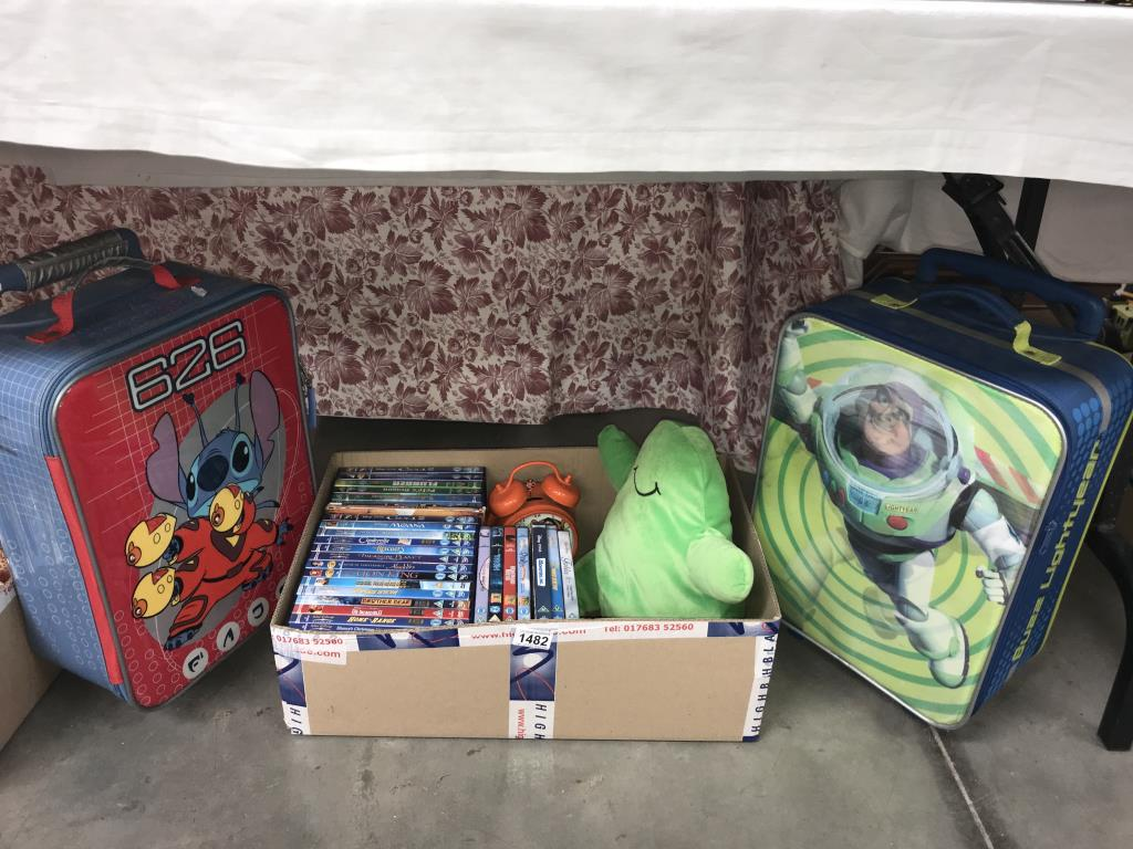 2 Disney cases & Disney DVD's, Flubber toy etc.