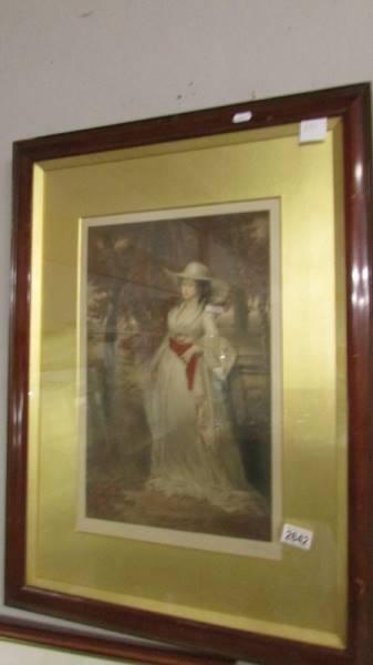 A framed and glazed framed study of a lady, signed.