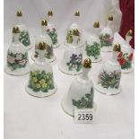 A set of 12 Royal Botanic Garden Wildflower collection bells.