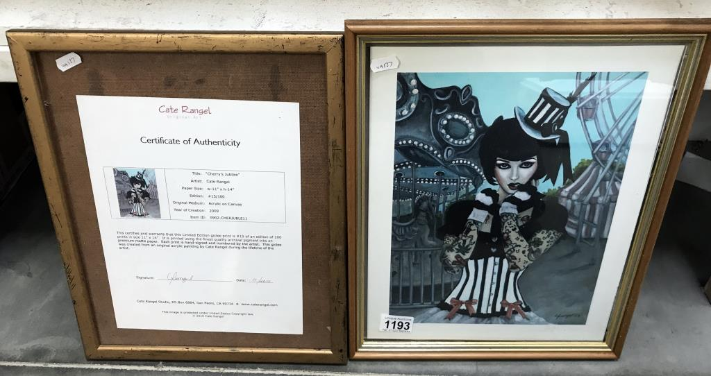 """A limited edition 15/100 print 'Cherry's Jubilee' by Cate Rangel (frame A/F) 11"""" x 14"""" acrylic on"""