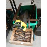 Two boxes of old tools including saws.