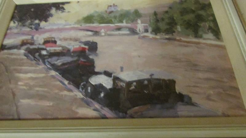 A Stanley Miller oil on board 'By The Seine'. - Image 2 of 3