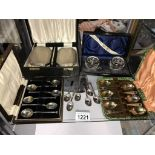 A cased silver rimmed condiment set & spoons, a cased silver backed 2 brush & comb set,