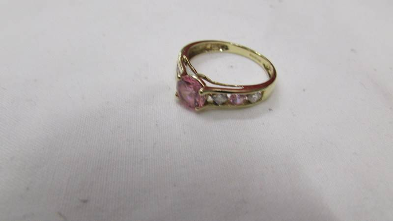 A 14ct gold pink and white stone ring, size M. - Image 3 of 3
