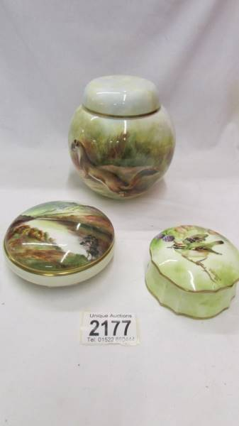 3 pieces of hand painted Victorian china - Ginger jar and 2 trinket pots all signed B Wallace '82.