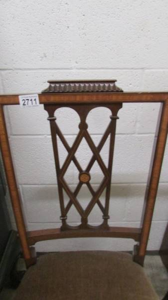 A pair of mahogany inlaid chairs. - Image 2 of 2