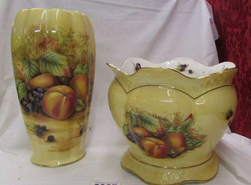 An Aynsley 'Orchard Gold' pattern vase and jardiniere.