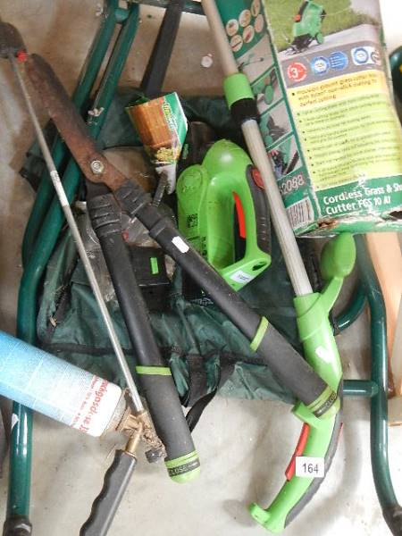 A quantity of electric garden tools and a flat pack wheel barrow. - Image 2 of 4