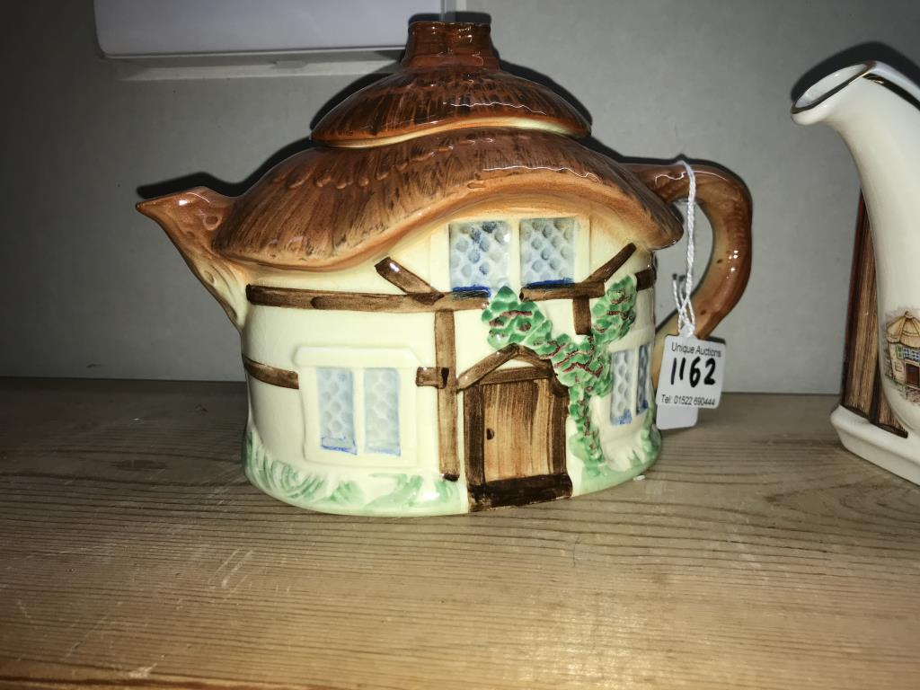 2 Sadler teapots and a cottage ware teapot (small chip inside soldier teapot) - Image 2 of 9