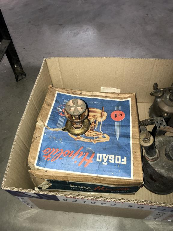 3 brass blow lamps and 2 pressure stoves - Image 3 of 3