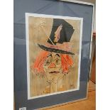 A painting of a clown signed Mamahty. 51 x 66 cm.