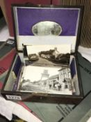 A quantity of old postcards mainly Sussex area in old wooden jewellery box (box a/f)