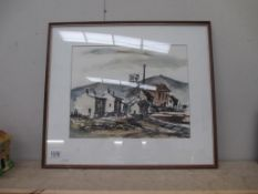 A framed and glazed watercolour Yorkshire Colliery by Sheila Parkinson 57 x 50 cm