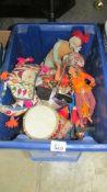 A box of costume dolls etc.